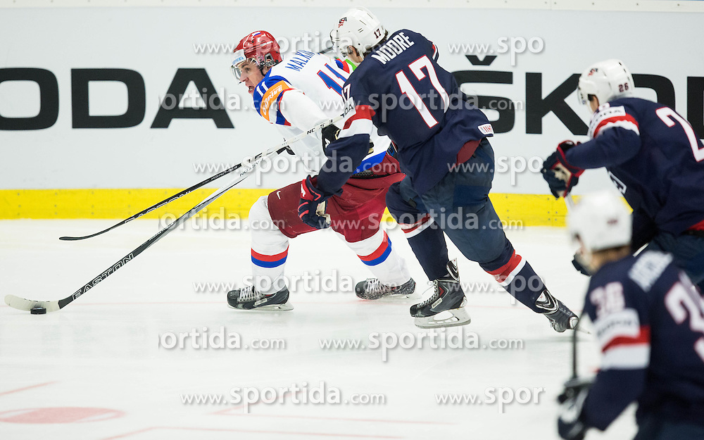 Yevgeni Malkin of Russia vs John Moore jr. of USA during Ice Hockey match between Russia and USA at Day 4 in Group B of 2015 IIHF World Championship, on May 4, 2015 in CEZ Arena, Ostrava, Czech Republic. Photo by Vid Ponikvar / Sportida