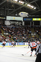 KELOWNA, CANADA, OCTOBER 11: The Capri Insurance Air Ship roams the crowd as the Medicine Hat Tigers visited the Kelowna Rockets on October 11, 2011 at Prospera Place in Kelowna, British Columbia, Canada (Photo by Marissa Baecker/shootthebreeze.ca) *** Local Caption ***