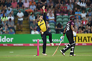 Andrew Salter of Glamorgan bowling during the Vitality T20 Blast South Group match between Somerset County Cricket Club and Glamorgan County Cricket Club at the Cooper Associates County Ground, Taunton, United Kingdom on 24 August 2019.