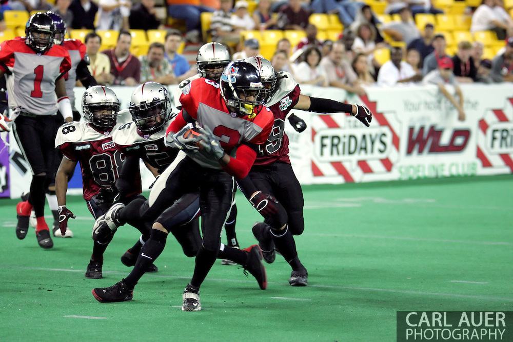 6-28-2007: Anchorage, AK - CenTex's Olan Coleman (3) spins past the defense on a kick return as the CenTex Barracudas hand the Alaska Wild another loss 53-47 as the Barracudas make the trip up to Alaska.