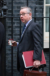 © Licensed to London News Pictures. 05/12/2017. London, UK. Environment, Food and Rural Affairs Secretary Michael Gove arriving in Downing Street to attend a Cabinet meeting this morning.Yesterday, Brexit negotiations on the Northern Ireland border were stalled when Arlene Foster of the DUP said she could not support commitment to keep Northern Ireland aligned with EU laws. Photo credit : Tom Nicholson/LNP
