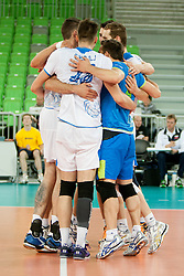 Players of Slovenia during qualifications match for FIVB Men's World Championship 2014 between National team Slovenia and Israel in pool B on May 24, 2013 in SRC Stozice, Ljubljana, Slovenia. (Photo By Urban Urbanc / Sportida)