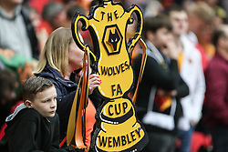 Wolves fans with a home made FA CUP trophy - Mandatory by-line: Arron Gent/JMP - 07/04/2019 - FOOTBALL - Wembley Stadium - London, England - Watford v Wolverhampton Wanderers - Emirates FA Cup Semi Final