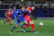 AFC Wimbledon striker Joe Pigott (39) battles for possession during the Leasing.com EFL Trophy match between AFC Wimbledon and Leyton Orient at the Cherry Red Records Stadium, Kingston, England on 8 October 2019.