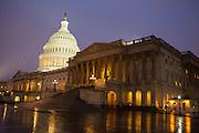 US Capitol, WashingtonDC, at night, in the rain
