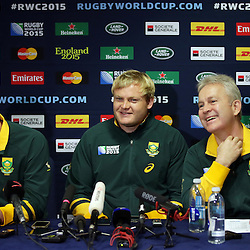 BIRMINGHAM, ENGLAND - SEPTEMBER 23: Heyneke Meyer (Head Coach) of South Africa with Adriaan Strauss and Ian Schwartz (Team Manager) of South Africa during the South African national rugby team announcement at Regency Hyatt Birmingham on September 23, 2015 in Birmingham, England. (Photo by Steve Haag)