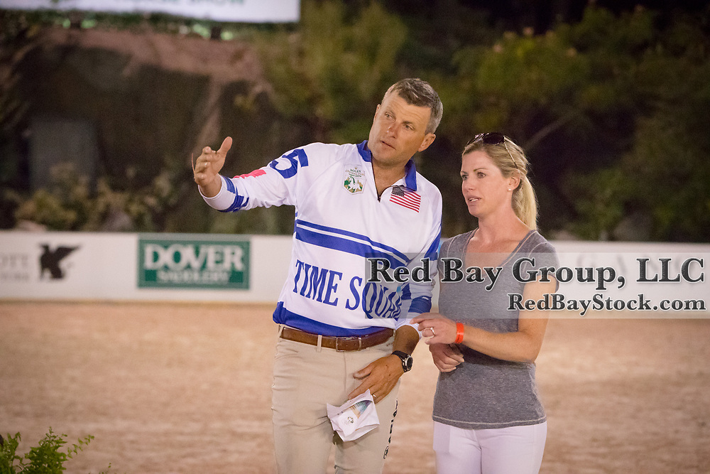 Boyd Martin and Hally Payne discuss the course ahead of the inaugural U.S. Open $50,000 Arena Eventing competition, presented by The Fite Group Luxury Homes, at the Rolex Central Park Horse Show, where Land Rover was the official vehicle sponsor on September 23, 2017 in New York City.