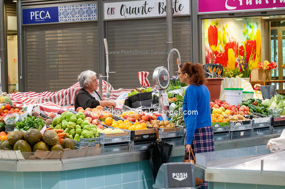Interior of the Municipal fruit and vegetable market at Figueira da Foz, Portugal