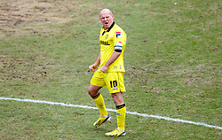 COLCHESTER, ENGLAND - Saturday, February 23, 2013: Tranmere Rovers' captain Andy Robinson looks dejected as Colchester United score their first goal during the Football League One match at the Colchester Community Stadium. (Pic by Vegard Grott/Propaganda)