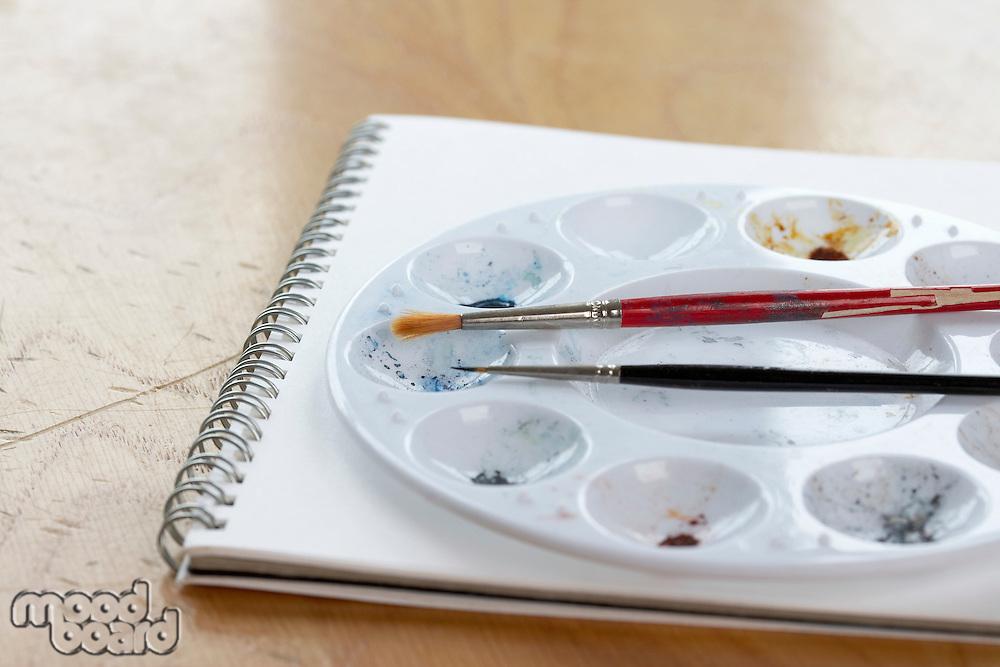 Brushes and palette on sketchbook