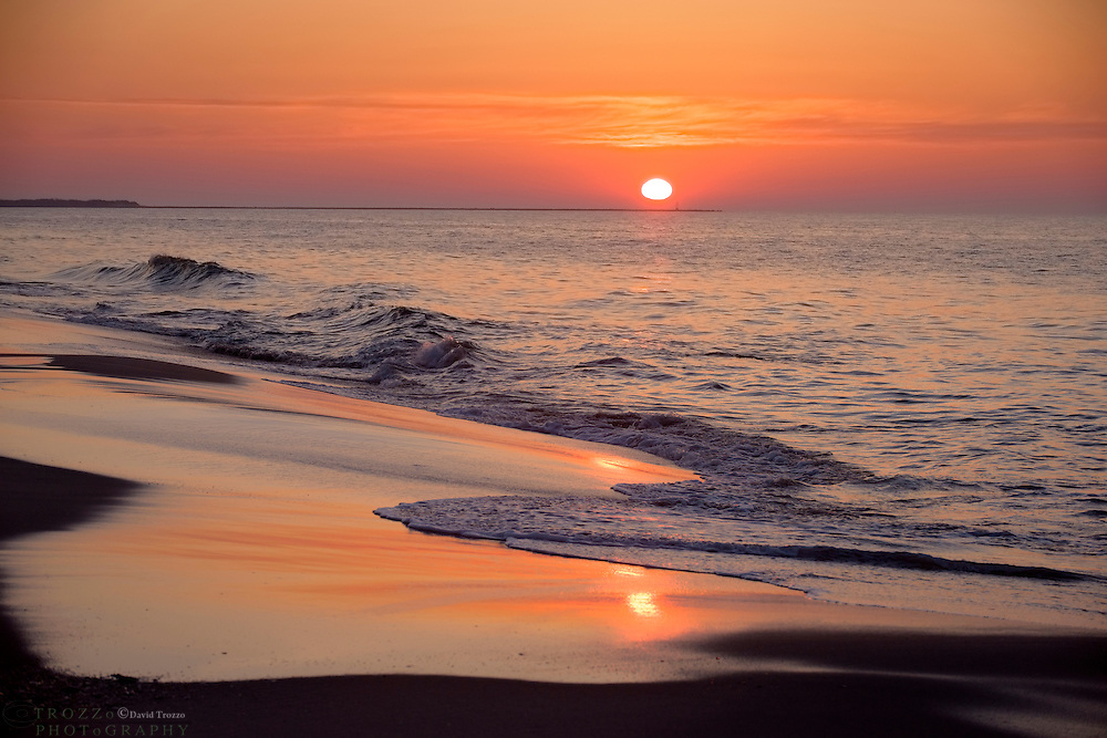 Sunrise over the beach; Cape May; NJ.