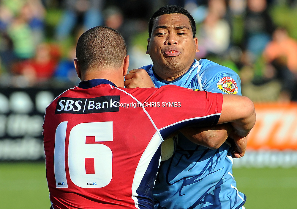 Northlands Mateo Malupo is tackled by Tasman`s Francis Smith during their ITM Cup game Tasman v Northland. Lansdown Park, Blenheim, New Zealand. Sunday 16 September 2012. Photo: Chris Symes/www.photosport.co.nz