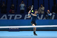 Tennis - 2018 Nitto ATP Finals at The O2 - Day Eight<br /> <br /> Final Singles: Novak Djokovic (SRB) vs. Alexander Zverev (GER)<br /> <br /> Djokovic warming up.<br /> <br /> COLORSPORT/ASHLEY WESTERN