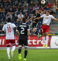 06.08.2014, Red Bull Arena, Salzburg, AUT, UEFA CL Qualifikation, FC Red Bull Salzburg vs Qarabag FK, dritte Runde, Rueckspiel, im Bild Stefan Ilsanker, (FC Red Bull Salzburg, #13) und Vueqar Nadirov, (Qarabag FK, #17) //during UEFA Champions League Qualifier second leg 3rd round match between FC Red Bull Salzburg vs Qarabag FK at the Red Bull Arena in Salzburg, Austria on 2014/08/06. EXPA Pictures © 2014, PhotoCredit: EXPA/ Roland Hackl