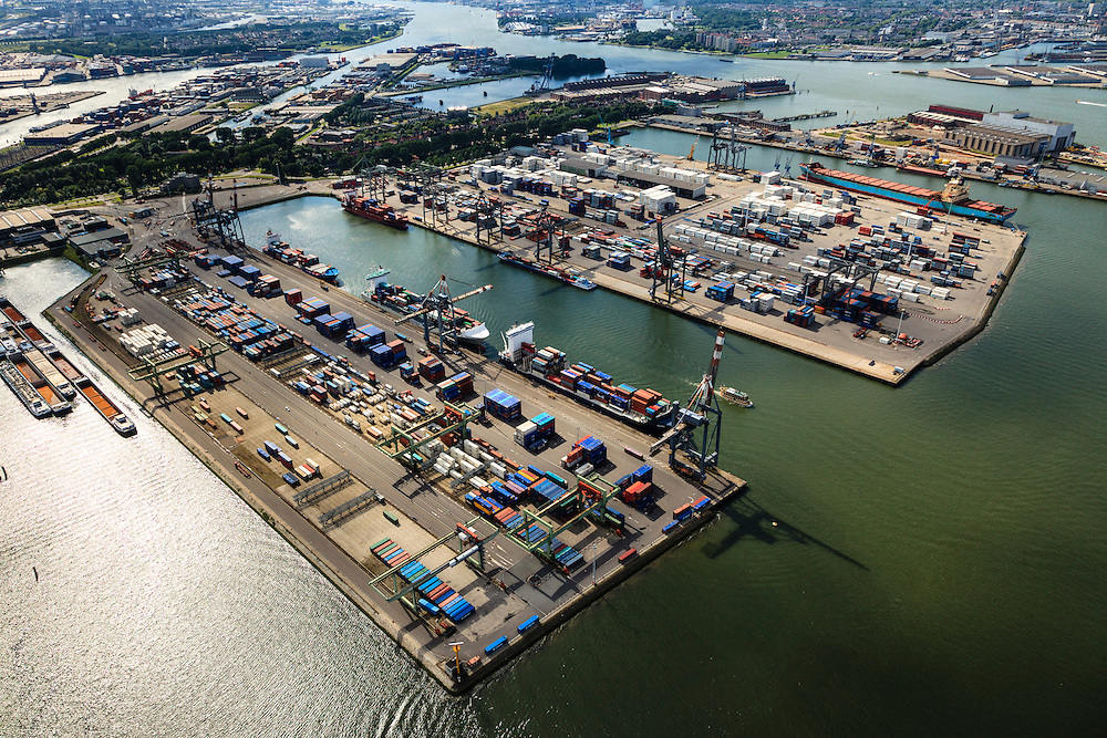 Nederland, Zuid-Holland, Rotterdam, 15-07-2012; Waalhaven met containerterminals en containeroverslag..Heijplaat in de achtergrond..Container storage and transshipment Waalhaven (Waal harbour) of the Port of Rotterdam..luchtfoto (toeslag), aerial photo (additional fee required).foto/photo Siebe Swart