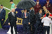 FIFA President Gianni Infantino, Russia President Vladimir Putin, France President Emmanuel Macron, Croatia President Kolinda Grabar-Kitarovic hugs head coach Zlatko Dalic during the trophies ceremony after the 2018 FIFA World Cup Russia, final football match between France and Croatia on July 15, 2018 at Luzhniki Stadium in Moscow, Russia - Photo Tarso Sarraf / FramePhoto / ProSportsImages / DPPI