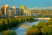city skyline and Rocky Mountains