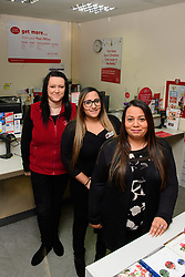 Pictured, from left to right, Paige Evans, Davina Singadia and Angelina Sangadia.<br /> <br /> Gill Furniss, MP for Brightside and Hillsborough, visited Margetson Crescent Post Office, Sheffield to meet subpostmistress Angelina Singadia and her team.<br /> <br /> Date: December 8, 2017