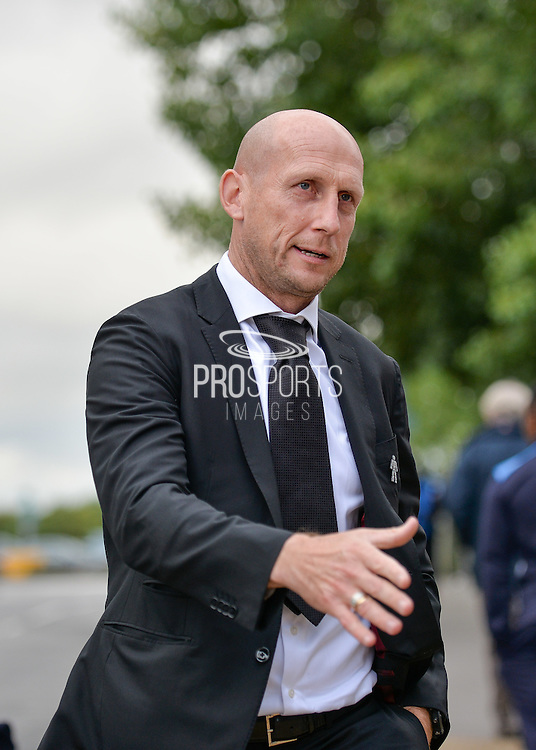 Reading manager, Jaap Stam arrives at the ground before kickoff during the EFL Sky Bet Championship match between Reading and Ipswich Town at the Madejski Stadium, Reading, England on 9 September 2016. Photo by Adam Rivers.