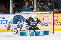 KELOWNA, CANADA - NOVEMBER 25: Jackson Whistle #1 of Kelowna Rockets defends the net against the Seattle Thunderbirds on November 25, 2015 at Prospera Place in Kelowna, British Columbia, Canada.  (Photo by Marissa Baecker/Getty Images)  *** Local Caption *** Jackson Whistle;