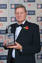 CARDIFF, WALES - Wednesday, November 11, 2009: Former Wales international goalkeepers Gary Sprake (1964-1974) with his special award during the Football Association of Wales Player of the Year Awards hosted by Brains SA at the Cardiff City Stadium. (Pic by David Rawcliffe/Propaganda)
