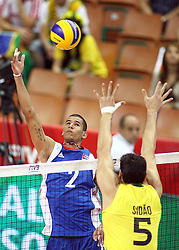 07.09.2014, Spodek, Katowice, POL, FIVB WM, Brasilien vs Kuba, Gruppe B, im Bild Romer Valdes // during the FIVB Volleyball Men's World Championships Pool B Match beween Brazil vs Cuba at the Spodek in Katowice, Poland on 2014/09/07. <br /> <br /> ***NETHERLANDS ONLY***