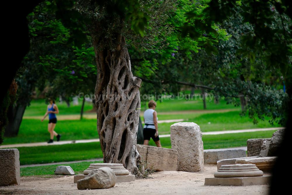 Ruines romaines, Jardins du Turia, Valence, Espagne. Les Jardins du Turia (Jardín del Turia en espagnol, Jardí del Túria en valencien) est un parc public de 110 hectares de la ville de Valence, en Espagne. Ils furent inaugurés en 1986 dans l'ancien lit du Turia, un fleuve qui traversait Valence avant 1957, date de la grande inondation de Valence qui entraina son détournement au sud de l'agglomération. Ces jardins traversent ainsi toute la ville d'ouest en est.  // Roman ruins, Jardin del Turia, Valencia, Spain