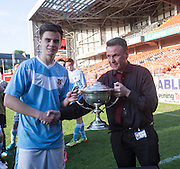 Monifieth captain Luc Bollan is presented with the U16 Dundee United Cup (sponsored by Arab Trust) by Arab Trust's  Colin Stewart after Monifieth High School beat  Grove Academy 5-4 in the final at Tanandice<br /> <br />  - &copy; David Young - www.davidyoungphoto.co.uk - email: davidyoungphoto@gmail.com