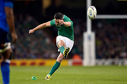 Jonathan Sexton of Ireland kicks for the posts - Mandatory byline: Patrick Khachfe/JMP - 07966 386802 - 11/10/2015 - RUGBY UNION - Millennium Stadium - Cardiff, Wales - France v Ireland - Rugby World Cup 2015 Pool D.