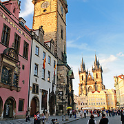 Prague's Old Town Square with Astronomical Clock at left