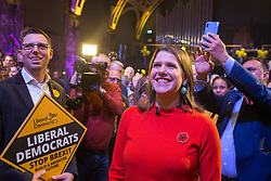 London, UK. 9 November, 2019. Jo Swinson, leader of the Liberal Democrats, poses for a photograph at the Rally for the Future in Battersea in order to set out the party's vision to Stop Brexit and Build A Brighter Future.