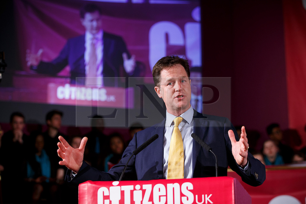 © Licensed to London News Pictures. 04/05/2015. LONDON, UK. Liberal Democrat leader Nick Clegg speaking at Citizens UK's assembly at Westminster Central Hall in London on Monday 4 May 2015. Photo credit : Tolga Akmen/LNP