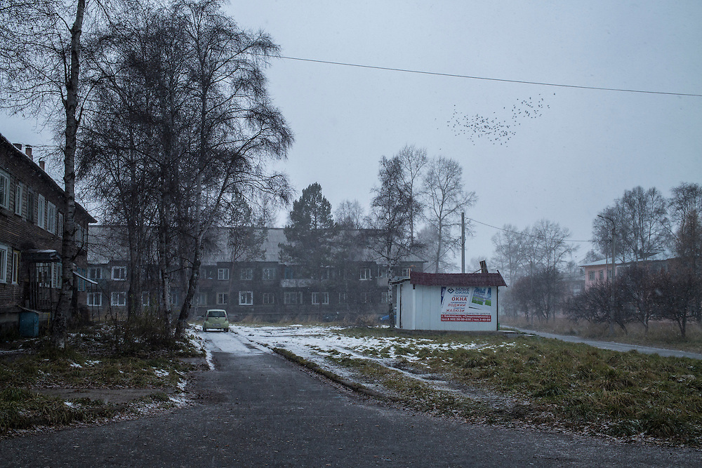 Snow begins to fall as a flock of birds passes overhead on Sunday, October 20, 2013 in Baikalsk, Russia.