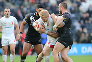 James Graham (C) of England on the attack against Jared Waerea-Hargreaves (R) of New Zealand during the Autumn International Series match at the KCOM Stadium, Hull<br /> Picture by Stephen Gaunt/Focus Images Ltd +447904 833202<br /> 27/10/2018