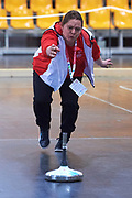 Graz, Austria - 2017 March 18: Special Olympics Athlete  from Austria warms up during training session of Stick Shooting while Special Olympics World Winter Games Austria 2017 at Convention Centre Messe Graz on March 18, 2017 in Graz, Austria.<br /> <br /> Mandatory credit:<br /> Photo by &copy; Adam Nurkiewicz / Mediasport<br /> <br /> Adam Nurkiewicz declares that he has no rights to the image of people at the photographs of his authorship.<br /> <br /> Picture also available in RAW (NEF) or TIFF format on special request.<br /> <br /> Any editorial, commercial or promotional use requires written permission from the author of image.<br /> <br /> Image can be used in the press when the method of use and the signature does not hurt people on the picture.