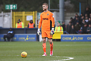 AFC Wimbledon goalkeeper George Long (1) about to pass the ballduring the EFL Sky Bet League 1 match between AFC Wimbledon and Northampton Town at the Cherry Red Records Stadium, Kingston, England on 10 February 2018. Picture by Matthew Redman.