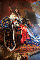 A portrait of Louis XIV painted by Henri Testelin on display at the Place of Versailles, on the outskirts of Paris, France
