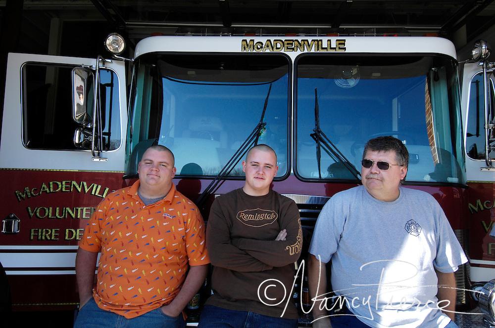 Volunteer firefighters for McAdenville Volunteer Fire Department in McAdenville, North Carolina