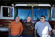 Volunteer firefighters for McAdenville Volunteer Fire Department in McAdenville, North Carolina