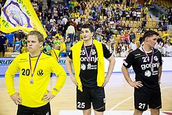 Stas Skube of RK Gorenje, +25+ and Blaz Klec of RK Gorenje look dejected after the handball match between RK Celje Pivovarna Lasko and RK Gorenje Velenje in 3rd Round of Final of 1st NLB League and Slovenian National Handball Championship 2014/15, on May 28, 2015 in Arena Zlatorog, Celje, Slovenia. RK Celje Pivovarna Lasko won 3rd time and became Slovenian National Champion 2015. Photo by Vid Ponikvar / Sportida