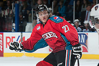 KELOWNA, CANADA - MARCH 15: Ryan Olsen #27 of the Kelowna Rockets skates against the Vancouver Giants on March 15, 2014 at Prospera Place in Kelowna, British Columbia, Canada.   (Photo by Marissa Baecker/Getty Images)  *** Local Caption *** Ryan Olsen;