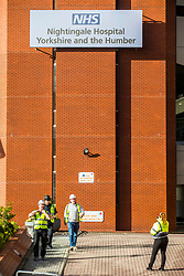 © Licensed to London News Pictures. 06/04/2020. Harrogate UK. Work continues this morning at the Harrogate Convention Centre in Yorkshire that is being turned into a Nightingale Hospital due to the coronavirus outbreak. Photo credit: Andrew McCaren/LNP