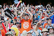 Cricket fans celebrate New Zealand's win. 2015 ICC Cricket World Cup match between New Zealand Back Caps and Australia at Eden Park, Auckland, New Zealand. Saturday 28 February 2015. Photo: Anthony Au-Yeung / www.photosport.co.nz
