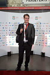 LIVERPOOL, ENGLAND - Tuesday, May 19, 2015: Liverpool and Getty photographer Andrew Powell arrives on the red carpet for the Liverpool FC Players' Awards Dinner 2015 at the Liverpool Arena. (Pic by David Rawcliffe/Propaganda)