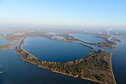 Nederland, Noord-Brabant, Werkendam, 23-08-2016; de Brabantse Biesbosch, onderdeel van Nationale Park De Biesbosch. Honderd en Dertig, voormalige polder, nu spaarbekken voor de productie van drinkwater. <br /> National Park De Biesbos with reservoir for the production of drinking water.<br /> luchtfoto (toeslag op standard tarieven);<br /> aerial photo (additional fee required);<br /> copyright foto/photo Siebe Swart