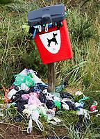 LOSSYMOUTH - Schotland - GB - hondenpoep zakjes bij volle vuilnisbak. COPYRIGHT KOEN SUYK