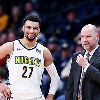 03 April 2018: Denver Nuggets head coach Michael Malone talks to Denver Nuggets guard Jamal Murray (27) during the Denver Nuggets 107-104 victory over the Indiana Pacers, at the Pepsi Center, Denver, Colorado, USA.