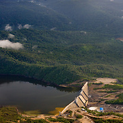 Aerial of Chalillo Dam and reservoir in the Cayo District, Belize