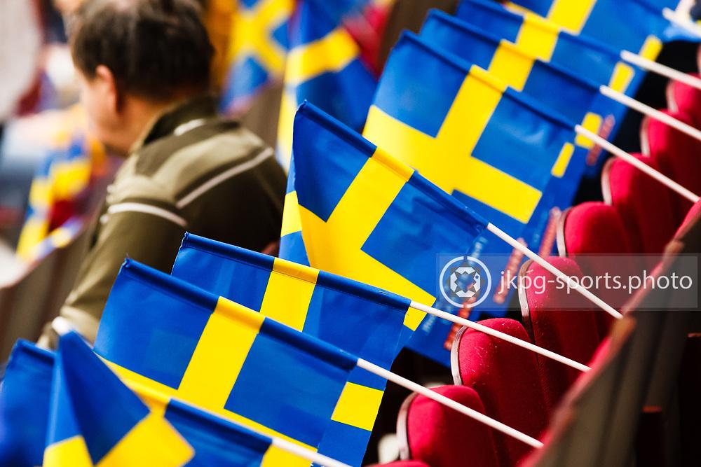 140104 Ishockey, JVM, Semifinal,  Sverige - Ryssland<br /> Icehockey, Junior World Cup, SF, Sweden - Russia.<br /> Swedish flags before the game.<br /> Svenska flaggor f&ouml;re matchen.<br /> Endast f&ouml;r redaktionellt bruk.<br /> Editorial use only.<br /> &copy; Daniel Malmberg/Jkpg sports photo