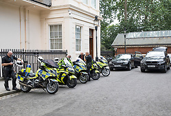 © Licensed to London News Pictures. 09/07/2018. London, UK. Police outriders wait for Foreign Secretary Boris Johnson to Leave his official residence after he delayed leaving for more than two hours. Brexit Secretary David Davis has resigned over Prime Minister Theresa May's Brexit Plan. Mr Davis was appointed to the post in 2016 and was responsible for negotiating the UK's EU withdrawal. Photo credit: Peter Macdiarmid/LNP